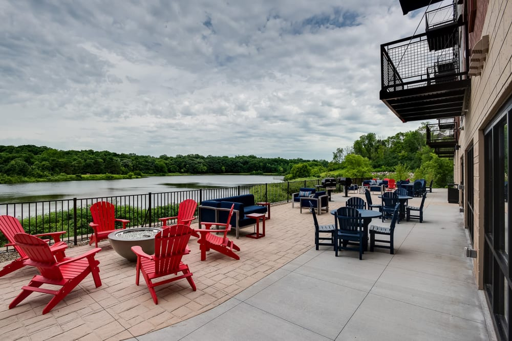A community patio with a view at Lake Jonathan Flats in Chaska, Minnesota