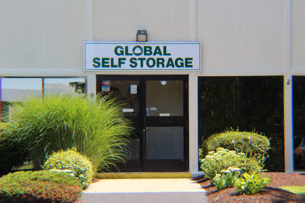 The front door at Global Self Storage in Clinton, Connecticut