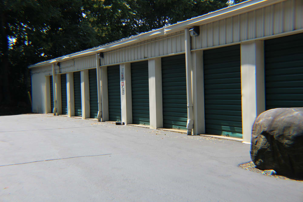 Outdoor storage units at Global Self Storage in Clinton, Connecticut