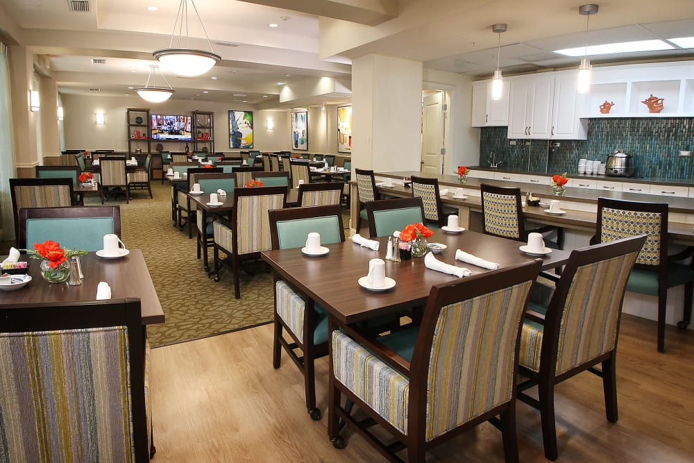 Large dining hall at Prestonwood Court in Plano, Texas