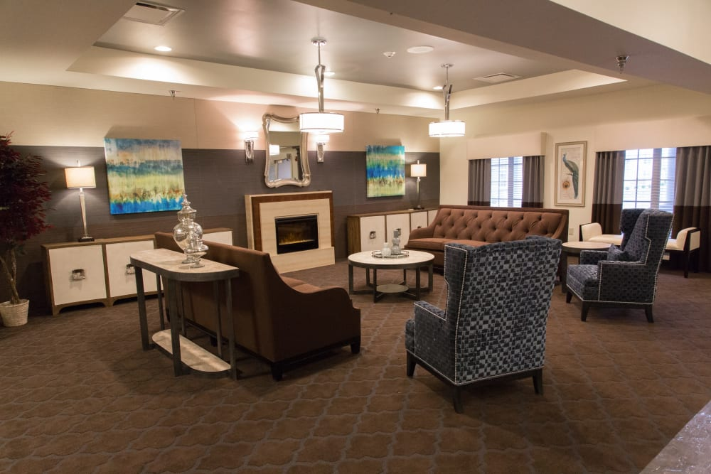 fireplace lounge at Sanders Ridge Health Campus in Mt Washington, Kentucky