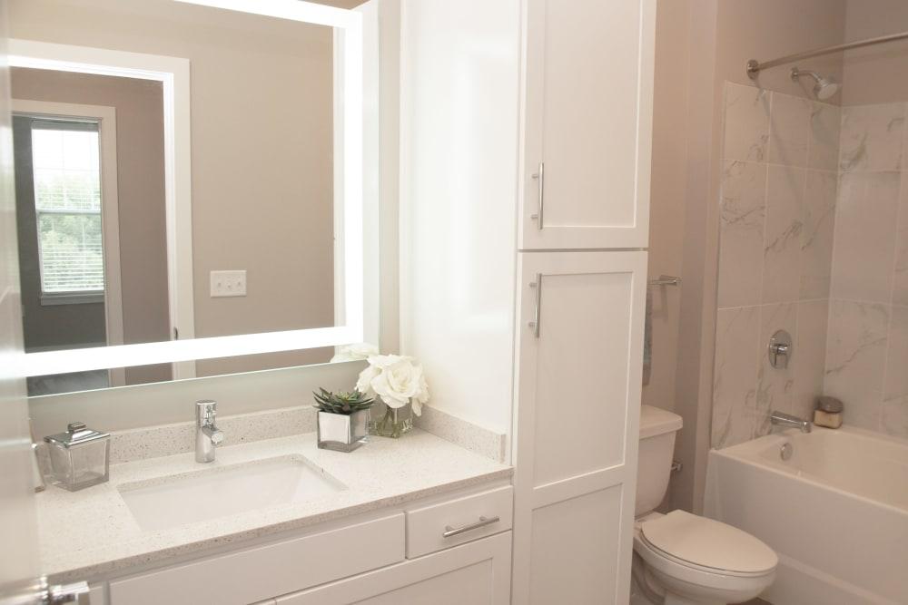 Bathroom with bathtub at Element Oakwood in Dayton, Ohio