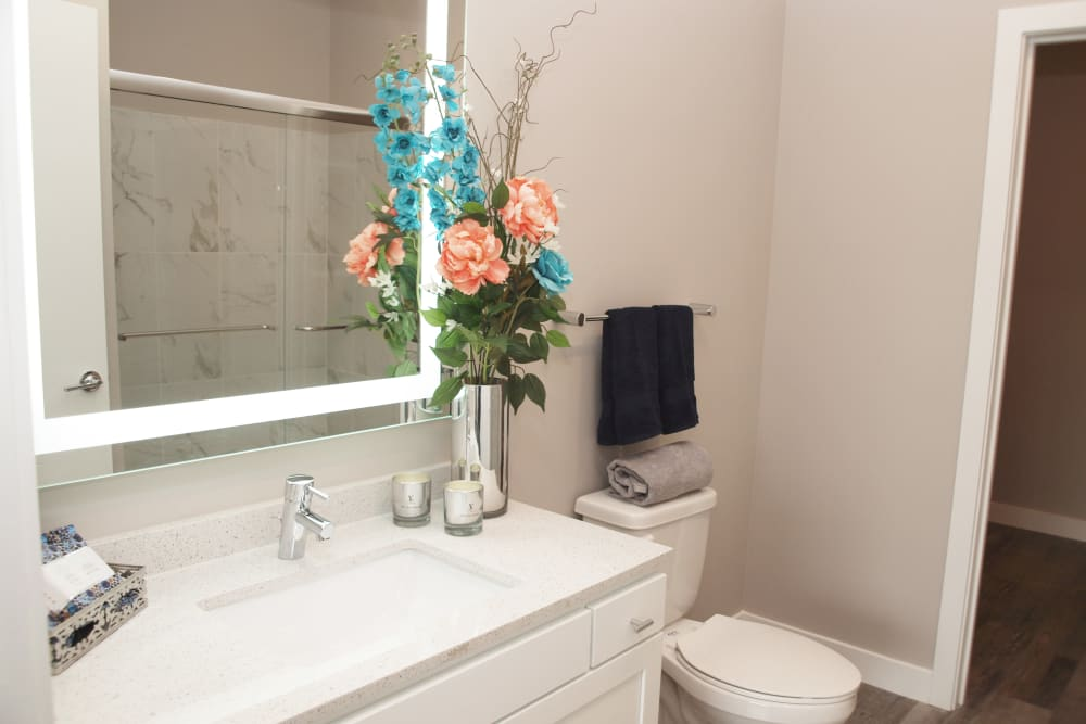 Bathroom with large vanity mirror at Greyson on 27 in Nicholasville, Kentucky