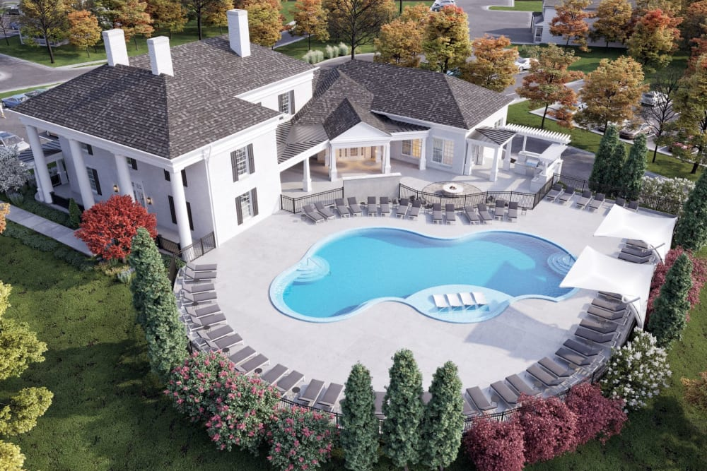 Aerial view of buildings and pool at Greyson on 27 in Nicholasville, Kentucky