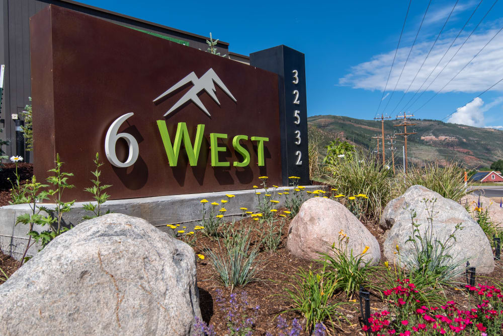 Entry Sign at 6 West Apartments in Edwards, Colorado