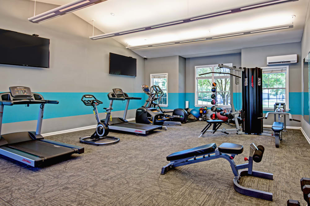 Fitness center at The Flats @ 55 Twelve in Durham, North Carolina