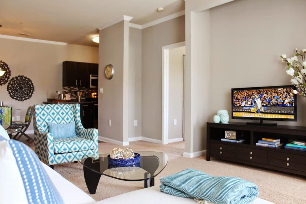 Spacious living room at The Flats @ 55 Twelve in Durham, North Carolina