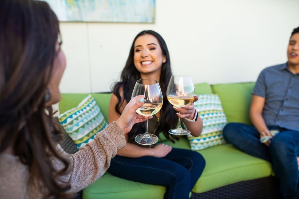 Residents enjoying their patio at BB Living at Val Vista in Gilbert, Arizona
