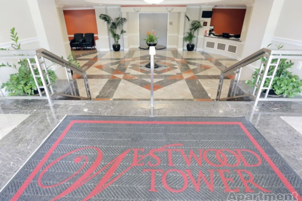 The entrance to the Westwood Tower Apartments in Bethesda, Maryland