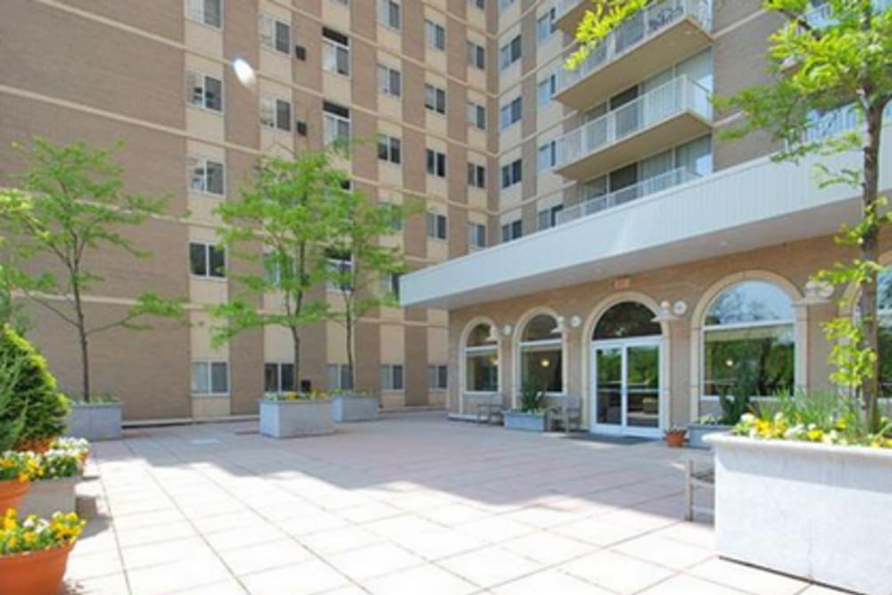 A spacious clubhouse patio at Westwood Tower Apartments in Bethesda, Maryland