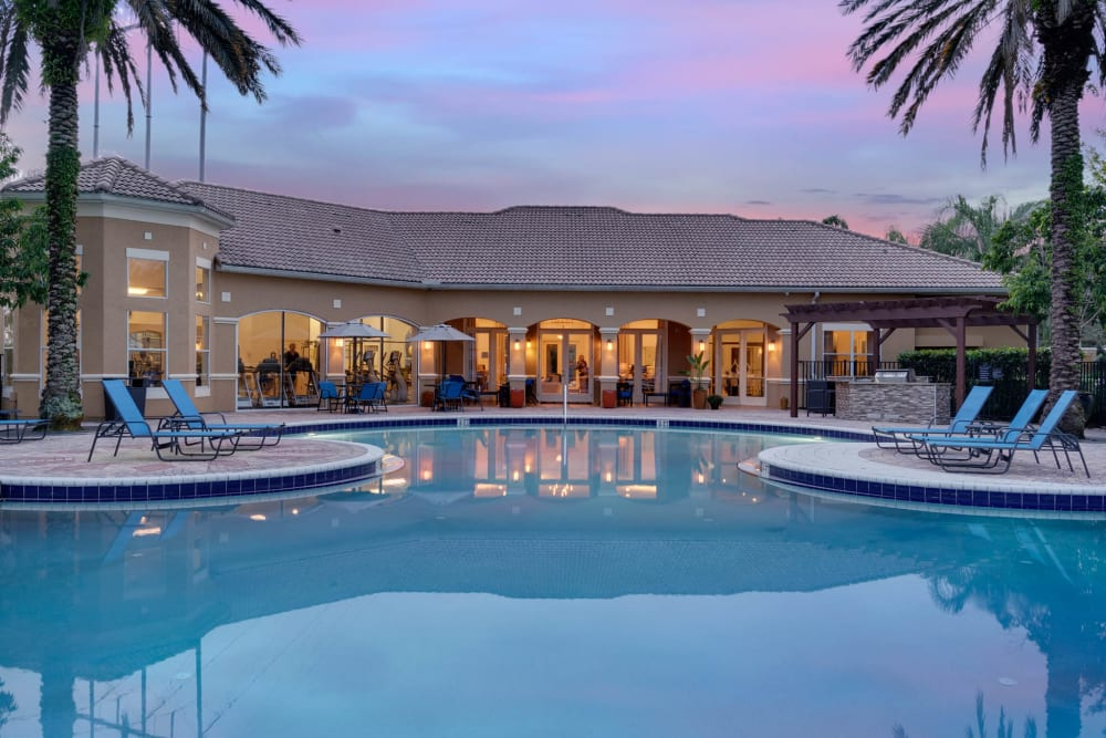 Pool at dusk at Palms at World Gateway in Orlando, Florida