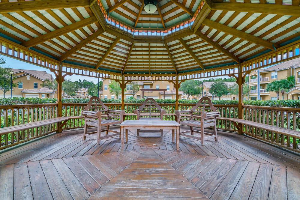 Stunning gazebo with seating at Palms at World Gateway in Orlando, Florida