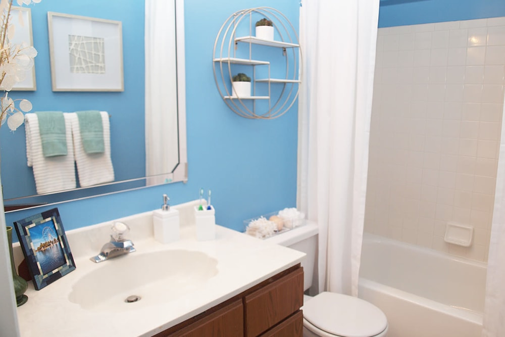 Bright blue painted bathroom featuring a shower and bathtub at Fox Chase Apartments in Cincinnati, Ohio
