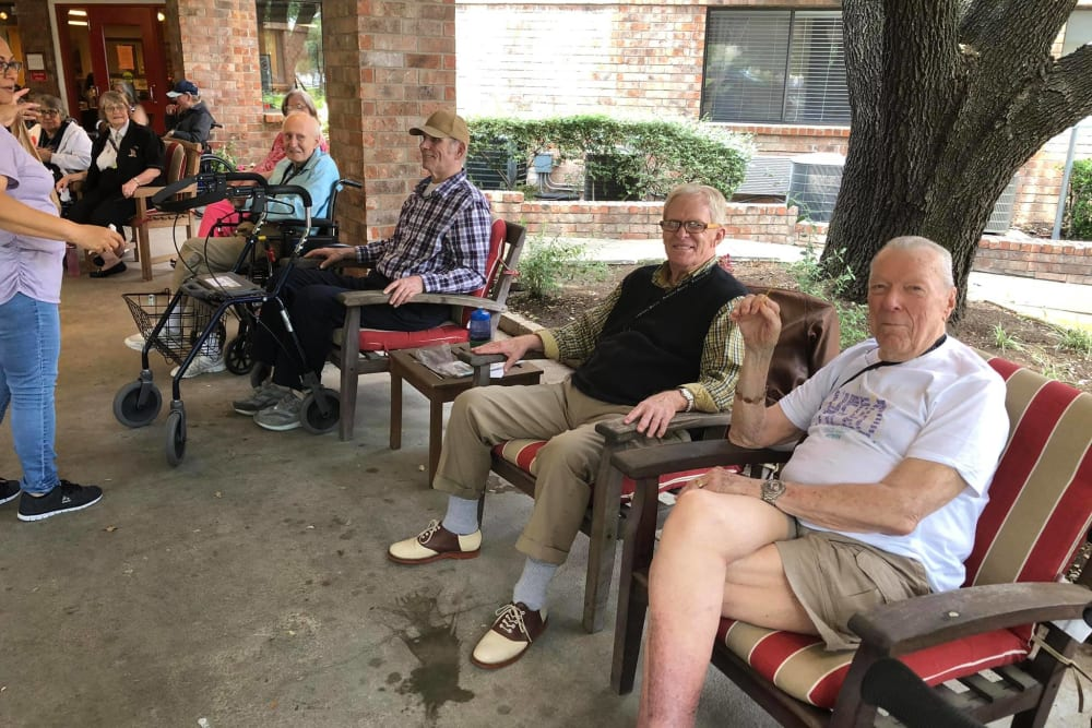 Residents outside at Parsons House Austin in Austin, Texas