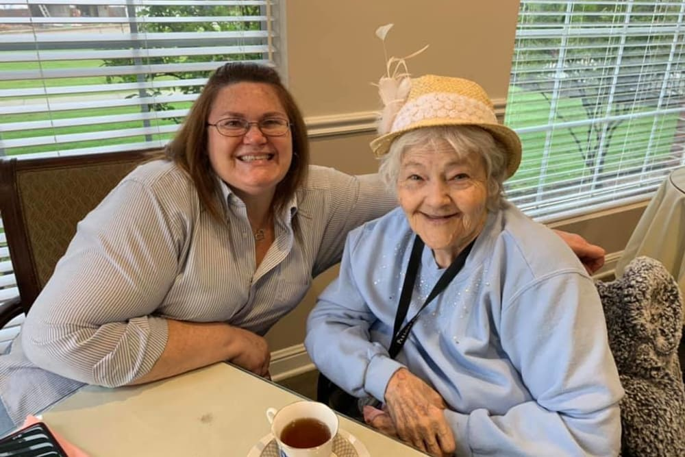 Resident and care worker at Parsons House Frisco in Frisco, Texas