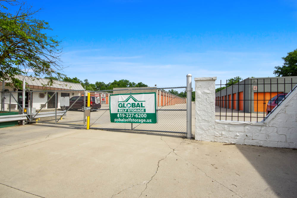 The security gate at Global Self Storage in Lima, Ohio