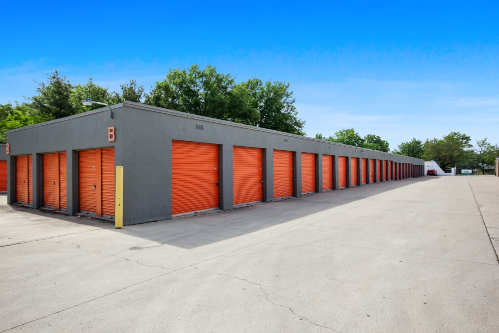 A row of units at Global Self Storage in Lima, Ohio