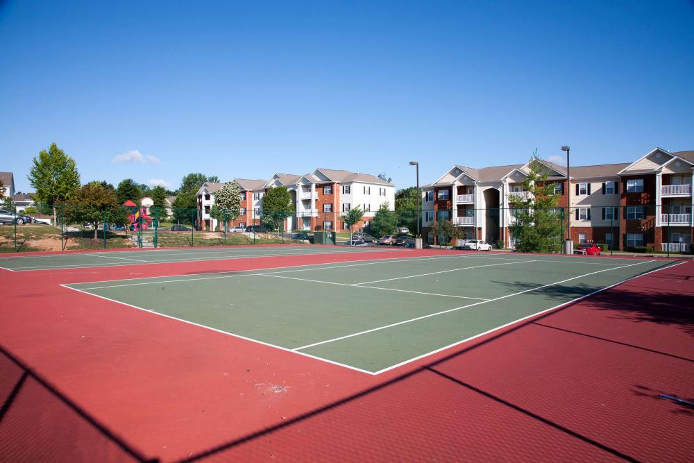 A full-size tennis court at Peine Lakes in Wentzville, Missouri