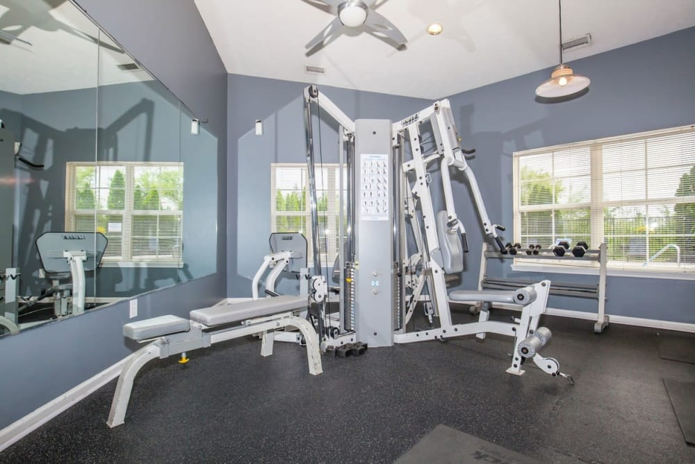 Weight room at Echo Ridge Apartments in Indianapolis, Indiana