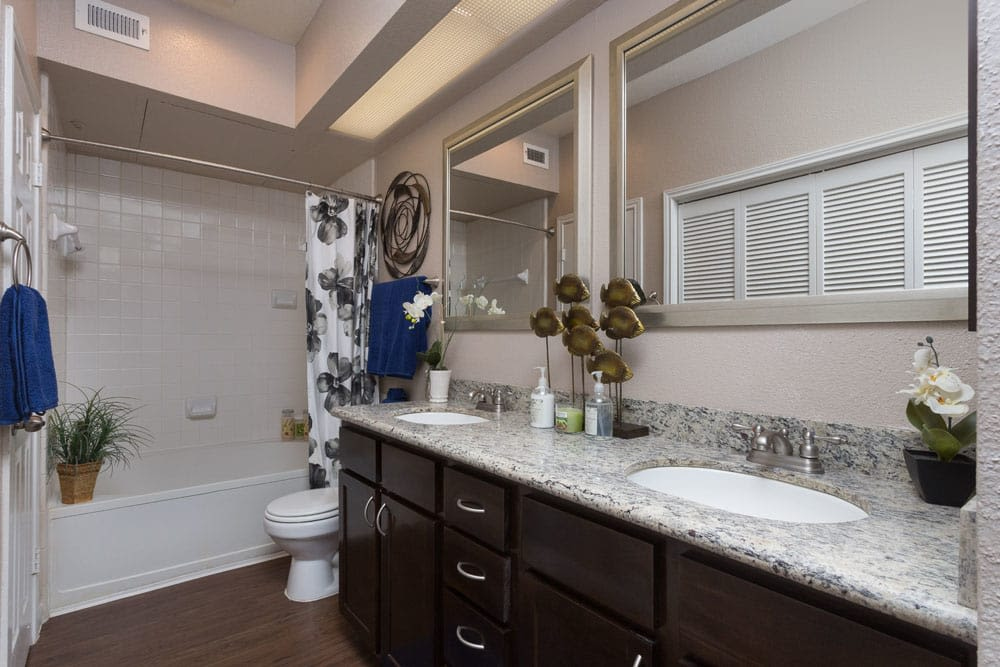 Updated bathroom at Greenbriar Park in Houston, Texas