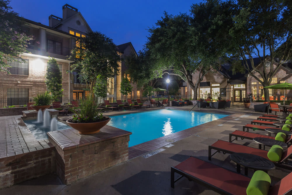 Beautiful evening lighting around pool at Greenbriar Park in Houston, Texas