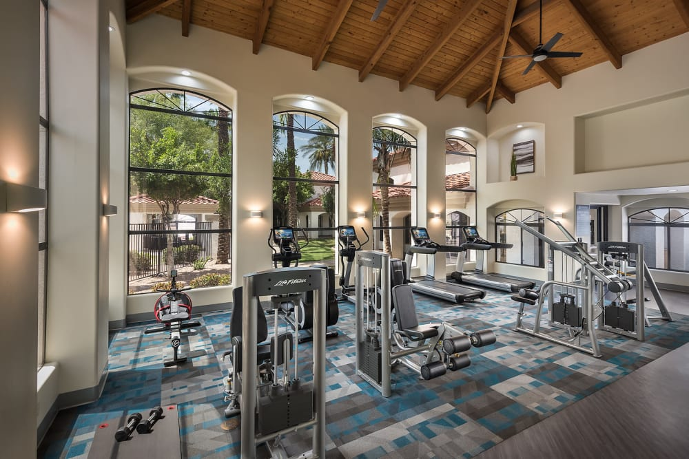 Onsite fitness center at San Palmas in Chandler, Arizona