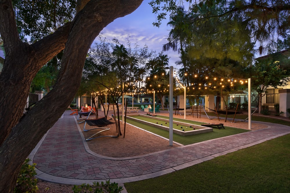Outdoor games patio at San Palmas in Chandler, Arizona
