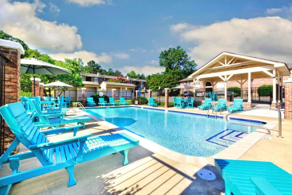Lounge by the pool at The Waterford in Little Rock, Arkansas
