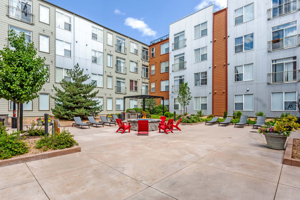 Outdoor Courtyard & Lounge Area at Diamond at Prospect Apartments in Denver, Colorado
