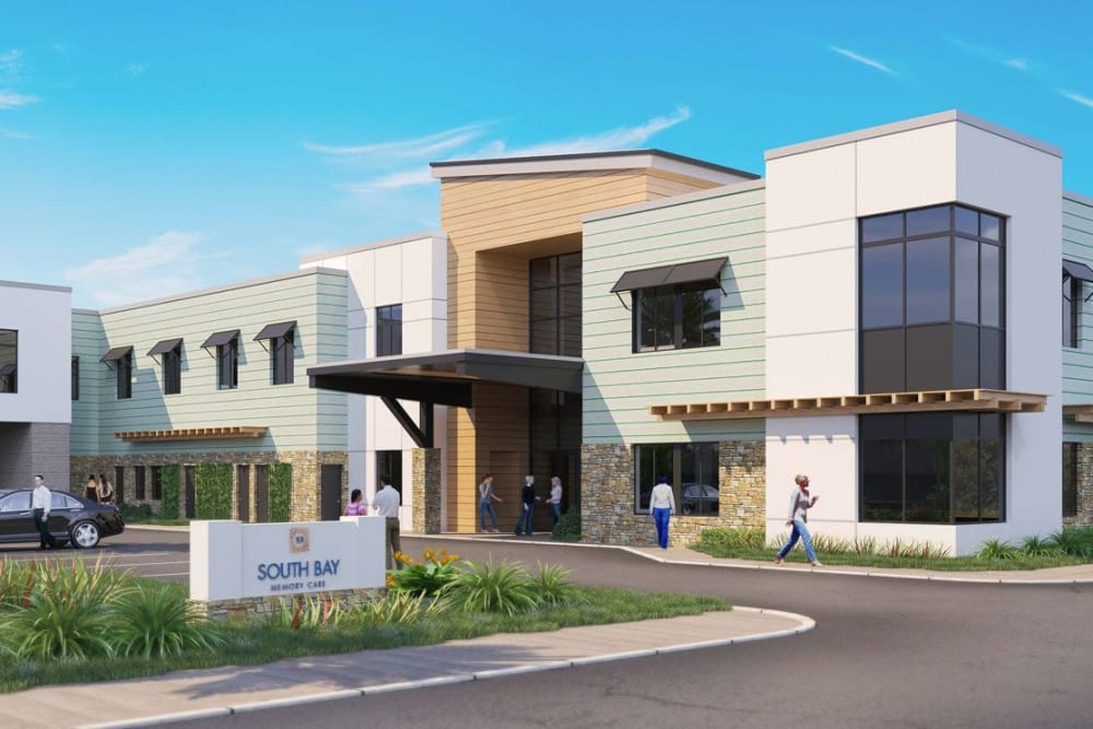 Rendering of main entry to Seasons Memory Care at Rolling Hills in Torrance, California.
