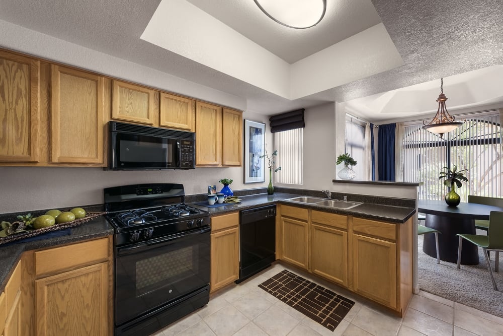 Gourmet kitchen in a model home at San Pedregal in Phoenix, Arizona