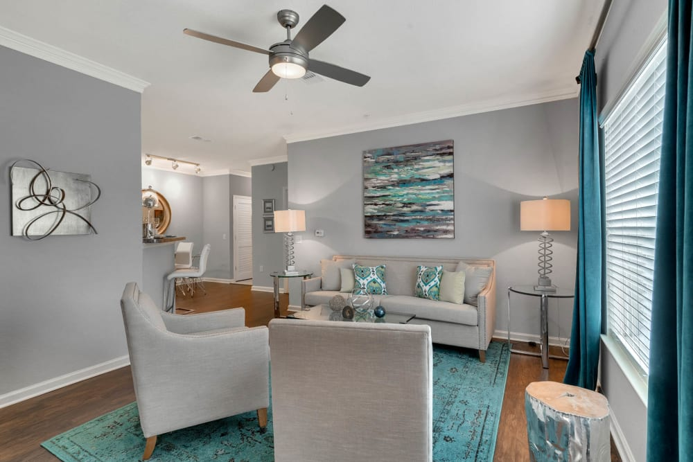 Model living room at Palms at World Gateway in Orlando, Florida