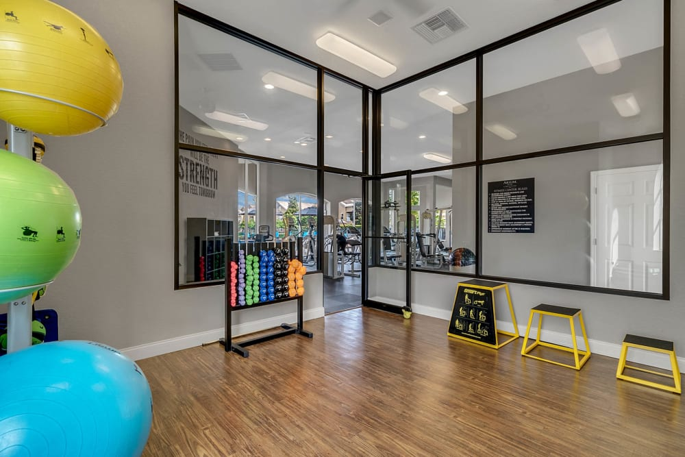 Spacious fitness center rooms at Palms at World Gateway in Orlando, Florida