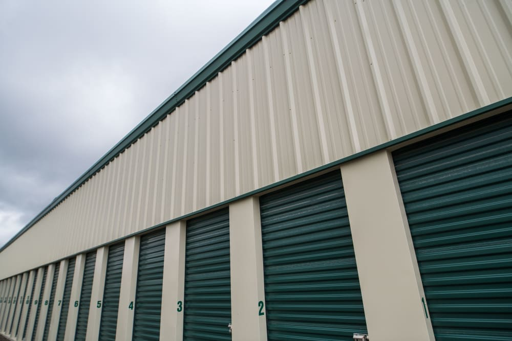 Clean, exterior storage units at Apple Self Storage - Aurora in Aurora, Ontario