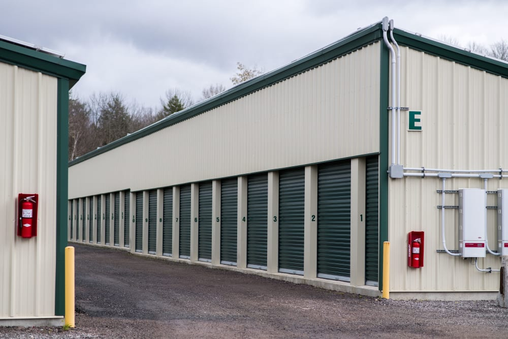 Exterior storage units at Apple Self Storage - Aurora in Aurora, Ontario