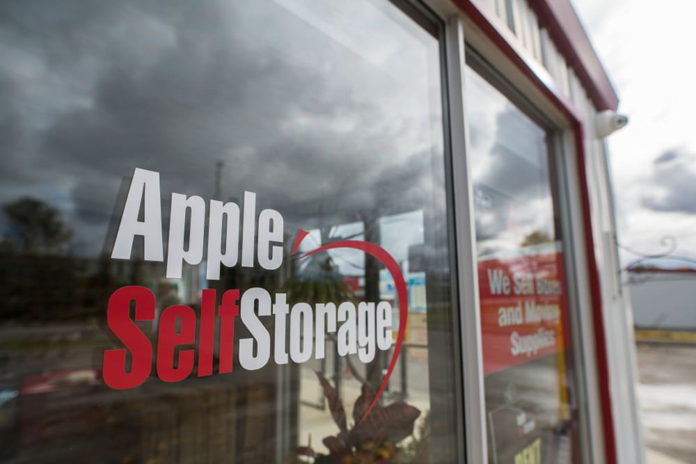 Logo on front door at Apple Self Storage - East Gwillimbury in East Gwillimbury, Ontario