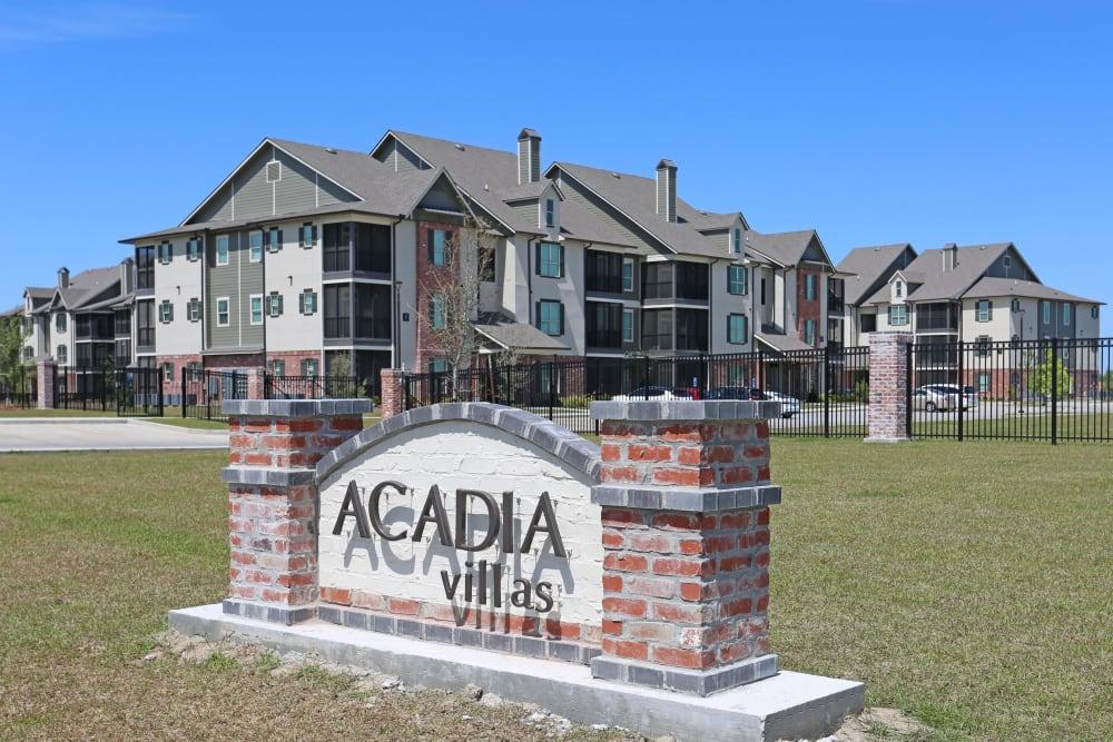 Sign to Acadia Villas in Thibodaux, Louisiana