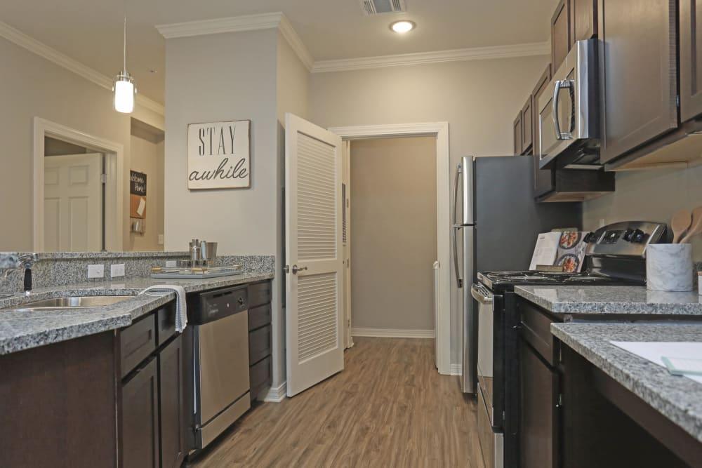 Fully equipped kitchen at Acadia Villas in Thibodaux, Louisiana