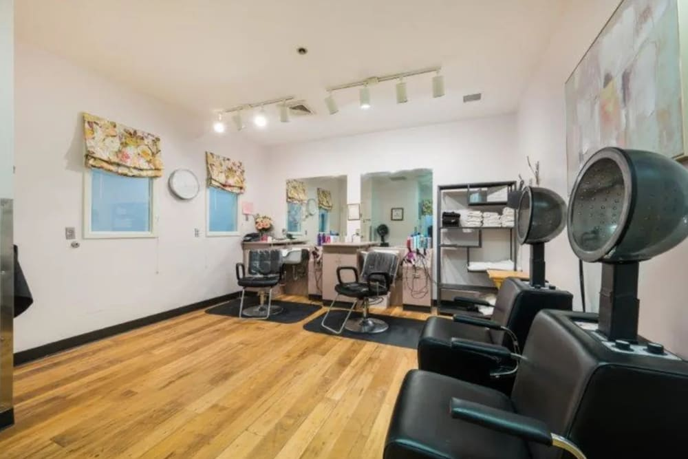 Barber shop and salon room at Briar Glen Alzheimer's Special Care Center in Hoover, Alabama