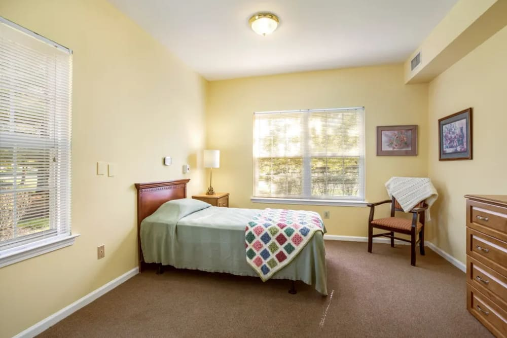 Private bedroom at Floral Creek Alzheimer's Special Care Center in Yardley, Pennsylvania