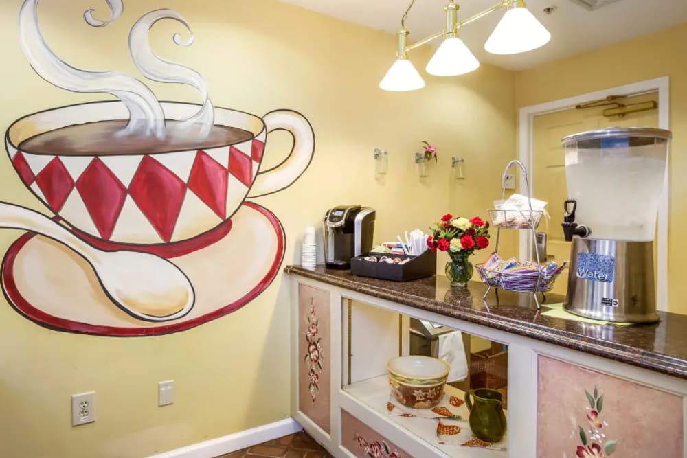 Beautiful coffee area at Floral Creek Alzheimer's Special Care Center in Yardley, Pennsylvania