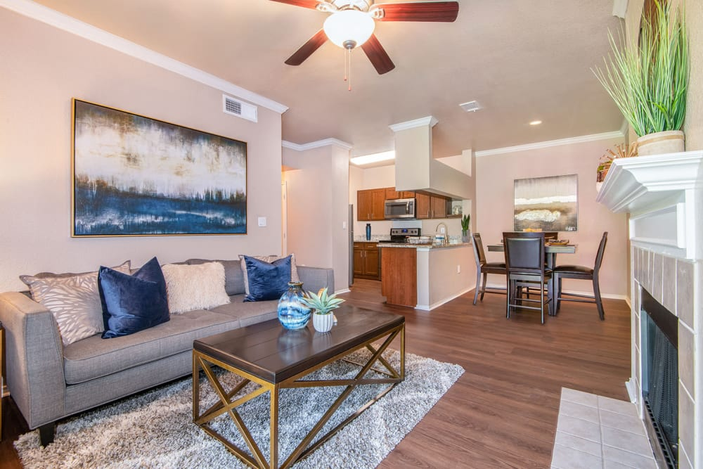 Living Room at Ballantyne Apartments in Lewisville, Texas