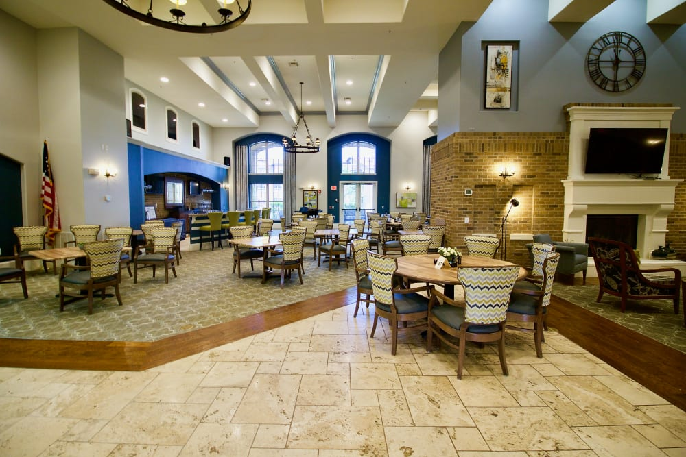A large dining room at Isle at Raider Ranch in Lubbock, Texas