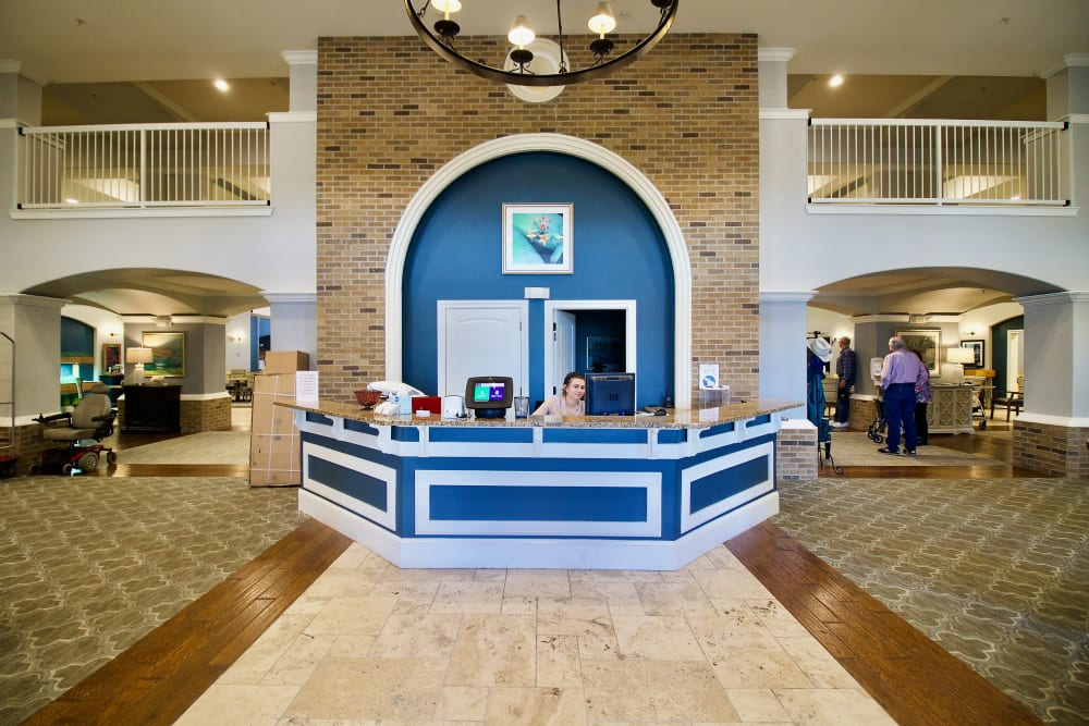 The reception desk at Isle at Raider Ranch in Lubbock, Texas