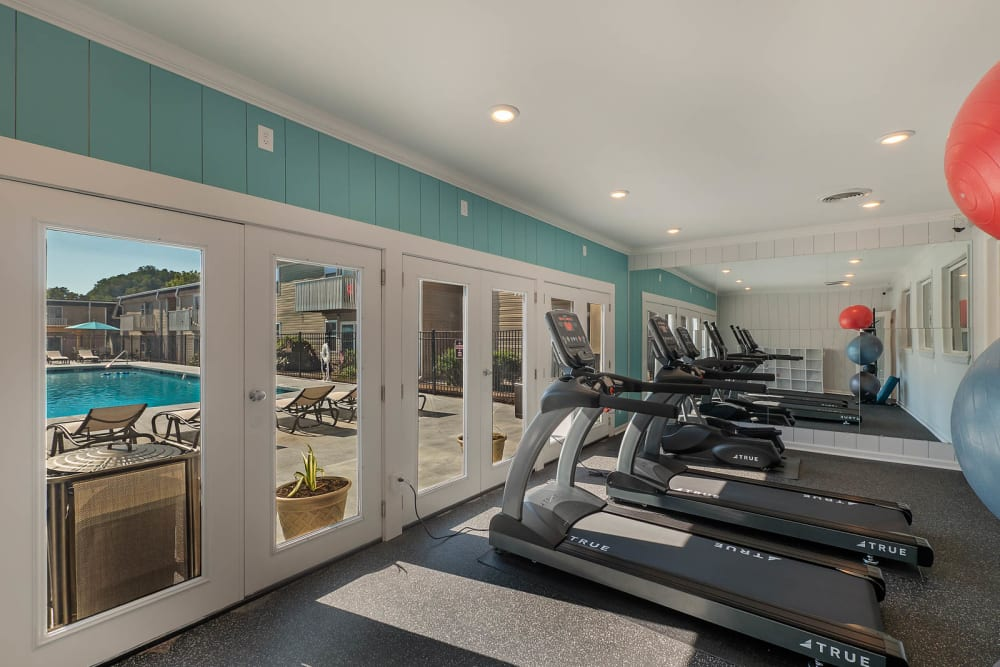 The fitness room at The Reserve at Red Bank in Chattanooga, Tennessee