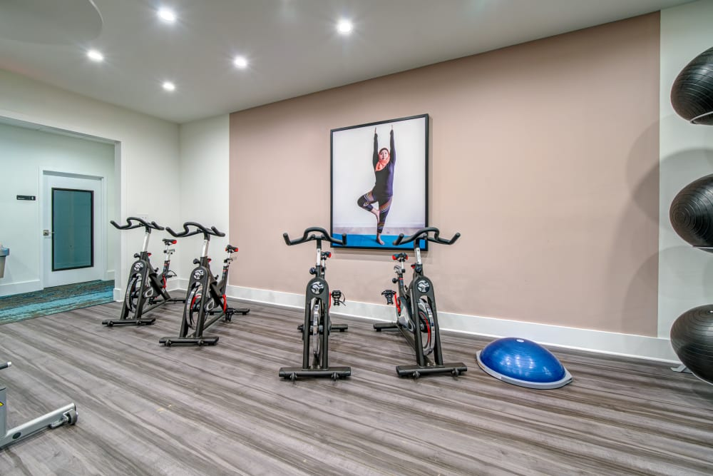 A bike room for fitness classes at Waterview Apartment Homes in Memphis, Tennessee