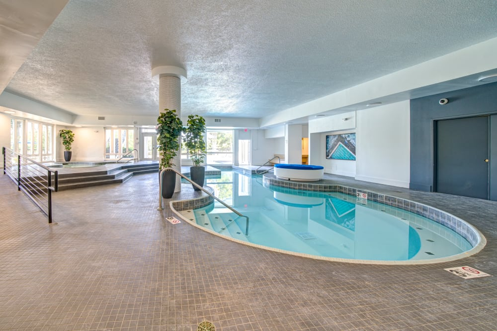 An indoor swimming pool at Waterview Apartment Homes in Memphis, Tennessee