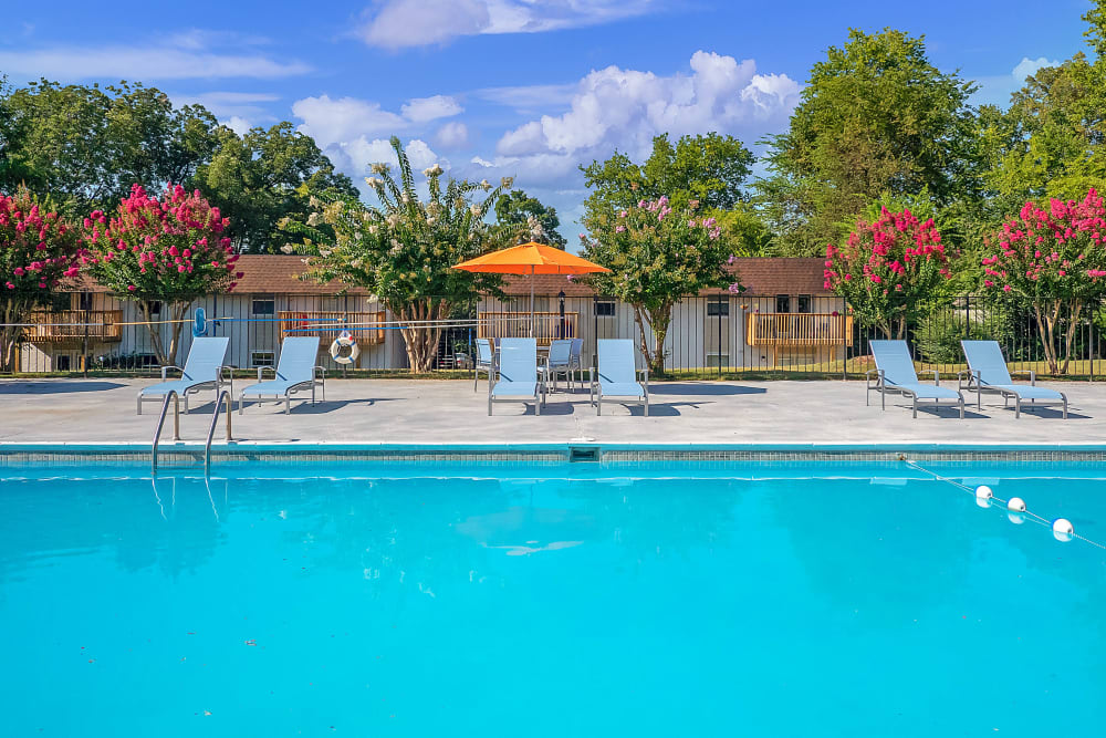 Pool with lounge chairs at Riverside North in Chattanooga, TN