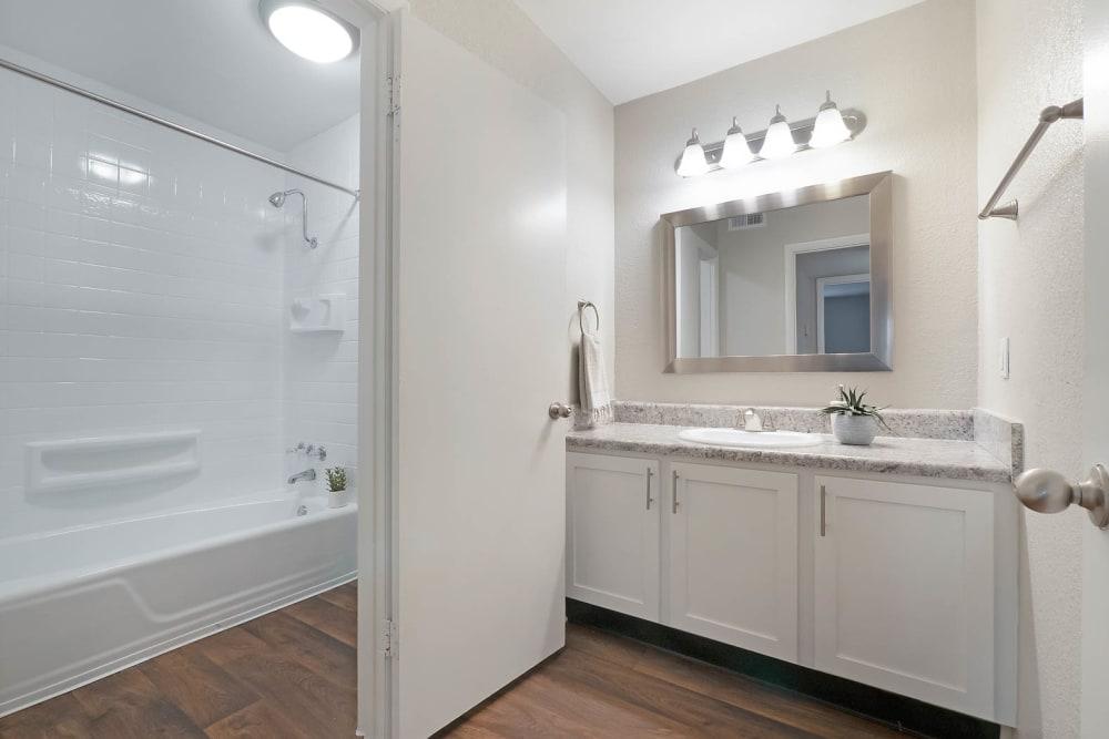 Well lit bathroom at Riverside North