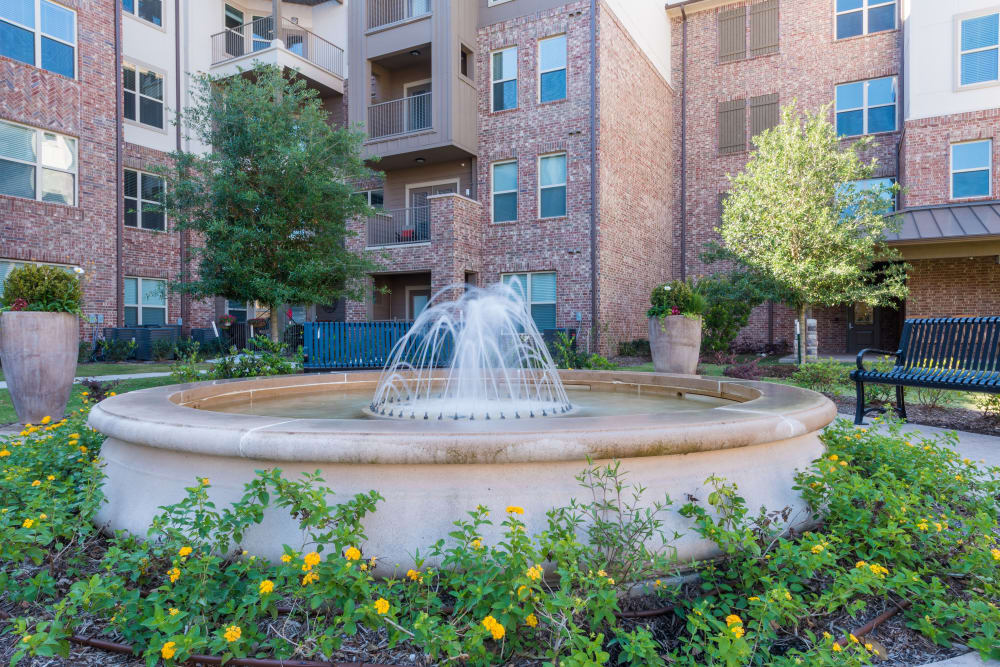 The fountain in front of Watercrest at Katy in Katy, Texas